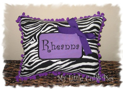 PURPLE ZEBRA PILLOW~~ with her name