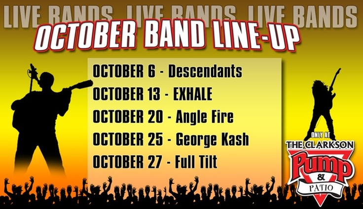 Band Line-Up this Month at The Clarkson Pump