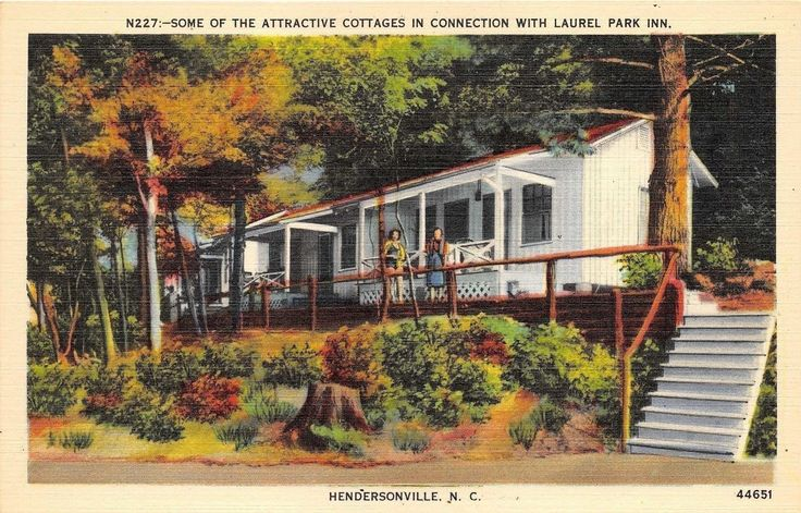 NC North Carolina Hendersonville Cottages Laurel Park Inn Hotel Linen Postcard | eBay
