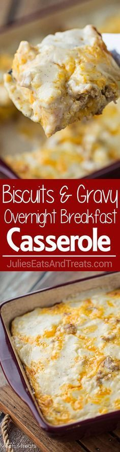 Wow ... This is really,  really great!   Biscuits and Gravy Overnight Breakfast Casserole ~ Comforting, Hearty Breakfast Casserole That is Prepared the Night Before and Baked in the Morning! Biscuits Loaded with Gravy, Sausage, Eggs and Cheese!