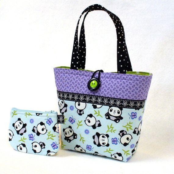 Kids Purse Little Girls Purse Coin Purse Set Panda Bear Fabric Mini Tote Bag Childs Bag Blue Purple MTO