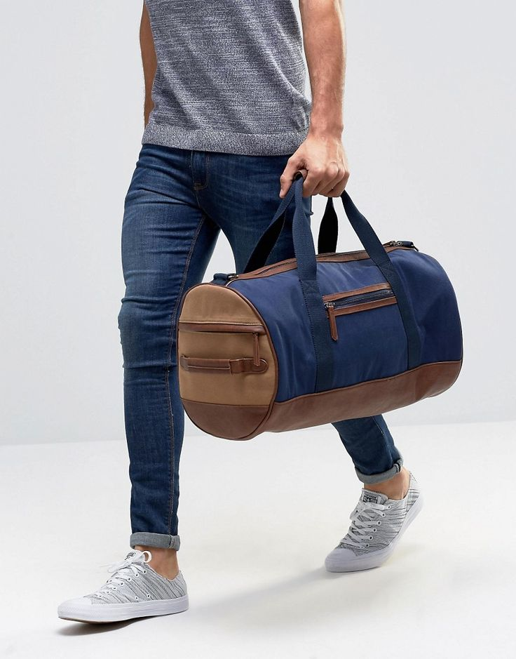Image 3 ofRiver Island Holdall In Navy Canvas With Faux Leather Trims