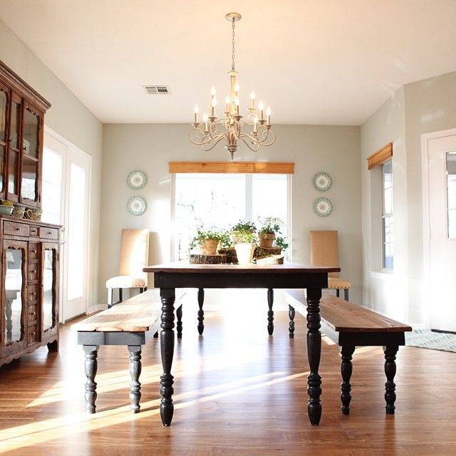 Love the idea of a super long farmhouse table & benches on each side. Fixer Upper...My New Fav HGTV Show!!!