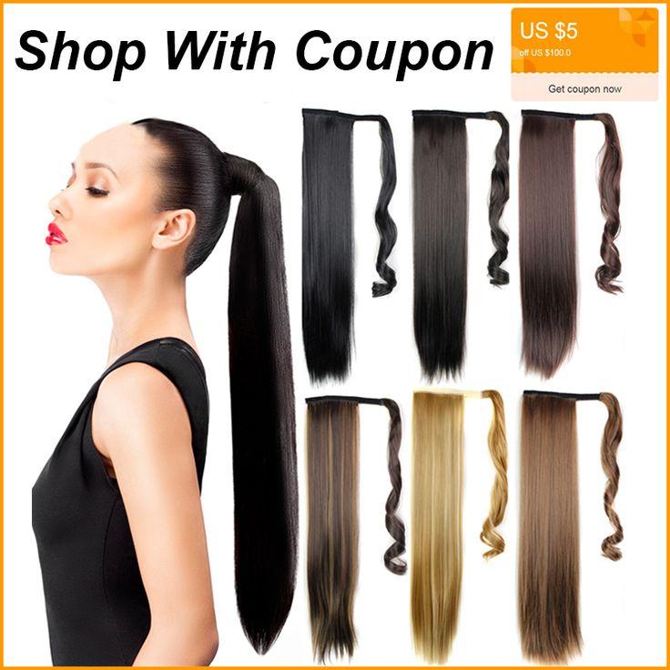60 CM Paardenstaart Haarstukken Valse Hair Extensions Straight Mijn Kleine Pony Tail Fake Haar Trekkoord Hittebestendige Synthetisch Haar