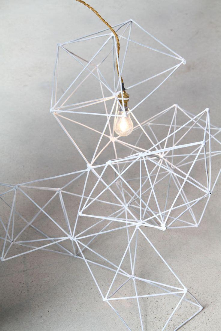 Floor standing lamp / original design / metal / handmade - GEOMETRIC WIRE - LifeSpaceJourney
