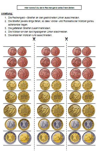 Spielgeld und Rechengeld zum Drucken und Ausschneiden