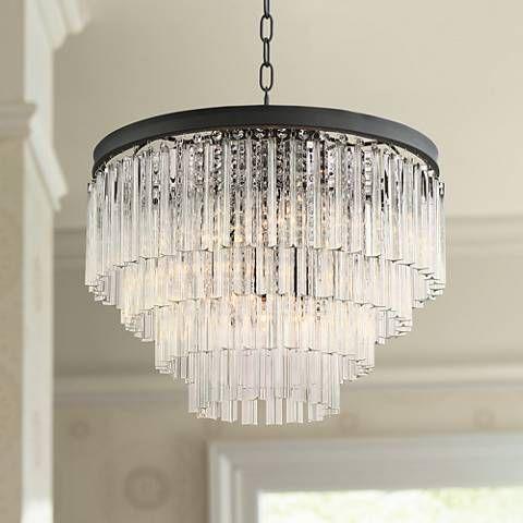 Possini euro cooper 20 wide black 6 light chandelier