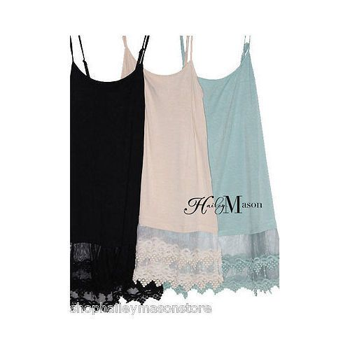 Top-Extender-Long-Tank-Camisole-Lace-Bottom-Cami-Layering-Vintage-WHITE-XXL