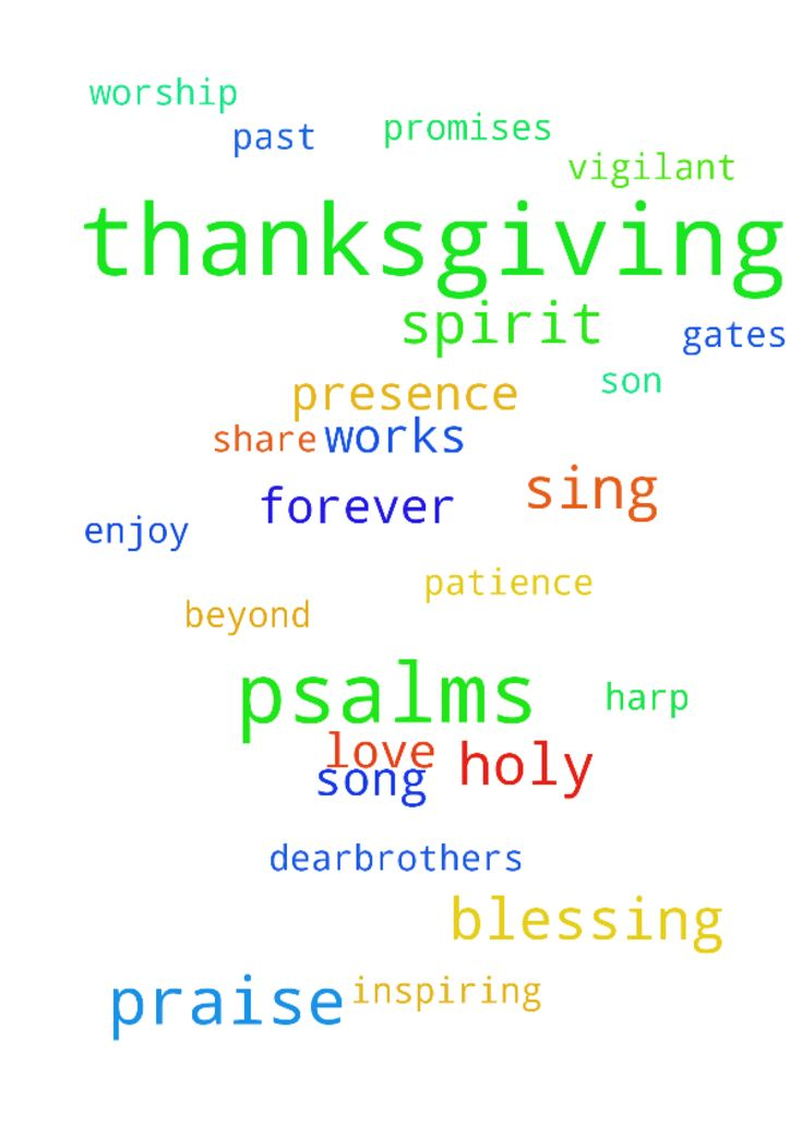 Thanksgiving -  Dear Father In Heaven, Thank you for all Your works and wonders, for all Your blessings, for all Your forgiveness, for all Your patience, for all Your understanding, for all Your scriptures, for all Your truth, for all Your teaching, for all Your promises, forall Your love, for Your Holy Spirit, and the priceless sacrifice of Your Holy Son. Thank you Dear Father for inspiring musicians with Your Holy Spirit and talent to sing praise and worship songs to You for us to enjoy…