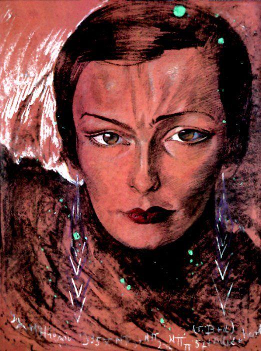 Maria kamińska's portrait by STANISŁAW IGNACY WITKIEWICZ, 1935