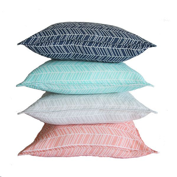 Herringbone scatter cushions from Ruby & Me in navy blue, duck egg, light grey and coral
