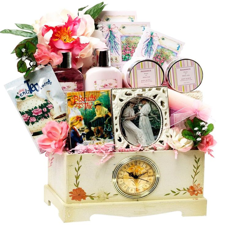 124 best romantic gifts images on pinterest romantic gifts gift our elegant hand painted victorian gift chest of antiqued wood is inlaid with a working clock and filled with our exclusive spa products tea negle Image collections