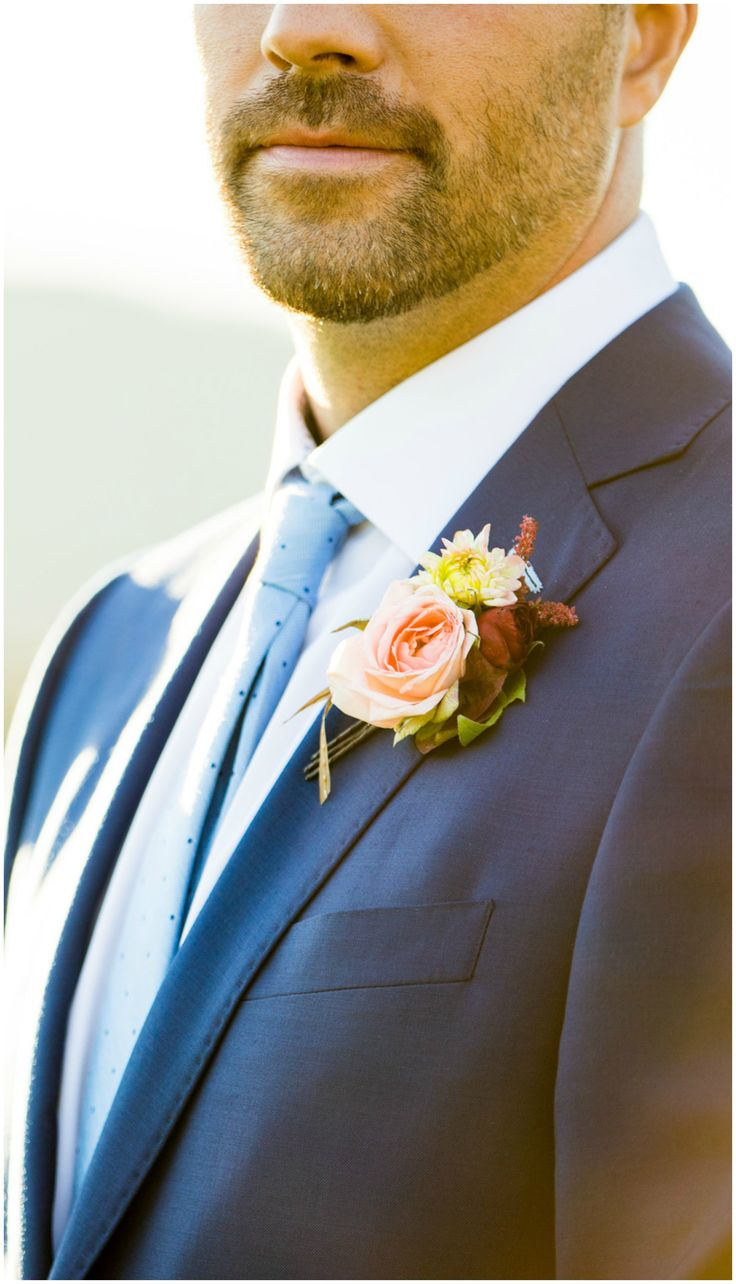 Groom boutonniere, pink floral bout, light blue tie, Virginia groom, repin to your own board // Aaron Watson Photography
