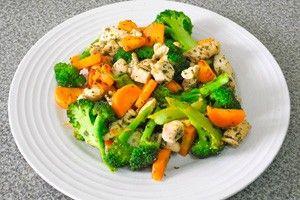 Приготовленная курица с овощами на тарелке