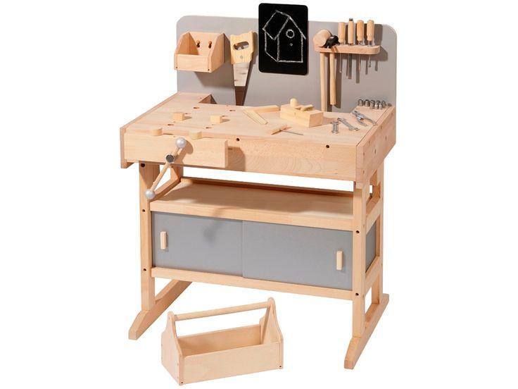 Kinder-Werkbank mit 32-teiliger Werkzeugkiste, 33 Teile (71x84x54 cm)