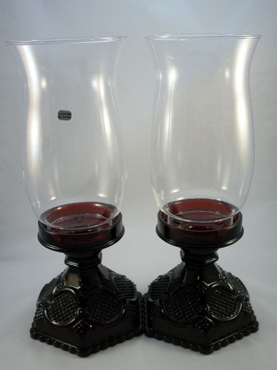 Vintage Avon Cape Cod Collectiion Hurrican Candle Holder- Candles- Pressed Glass- Home Decor