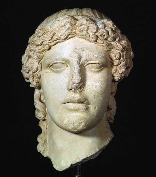 Head of Apollo (Kassel type), Roman copy of a Greek original by Phidias (mid-5th century B.C.), Insular marble   Museo di Scultura Antica Giovanni Barracco