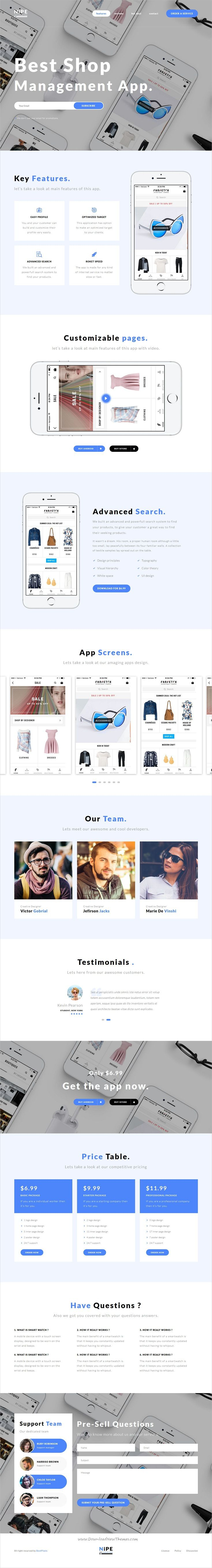 Nipe is clean and modern #design responsive #HTML template for #app showcase landing page website with 7 unique homepage layouts & 60+ design blocks download now..