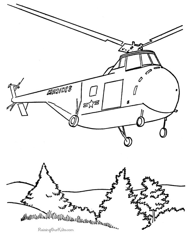 free marine coloring page