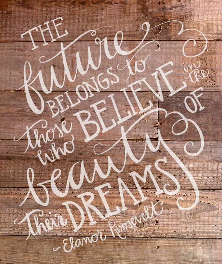 the future belongs to those who believe in the beauty of dreams // eleanor roosevelt