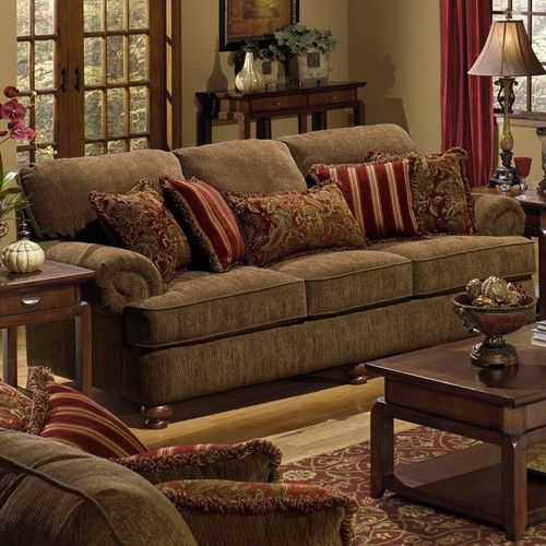 Belmont Sofa With Rolled Arms And Decorative Pillows By
