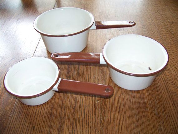 """3x Enamelware metal pots Brown handle hang hole, nice decor or Every day Use 5""""-7"""" dia.Farmhouse, Country Kitchen, Camping, Rustic saucepans"""