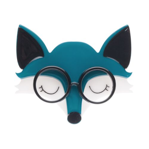 "Erstwilder Limited Edition Emry the Asleep Fox resin brooch. ""Emry's wisdom is just this: 'there is a time for many words and there is also a time for sleep."""