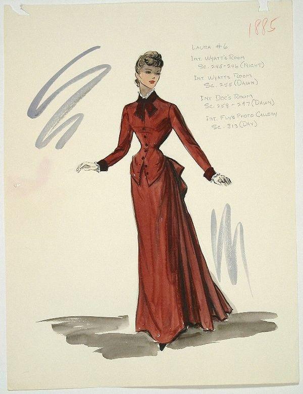 Esquisse et Croquis - Edith Head - Costumière à Hollywood - Rhonda Fleming - Gunfight at OK Corall - 1957