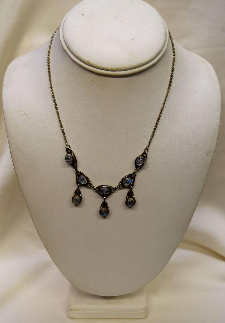Vintage Silver Necklace with Moonstone Gemstones