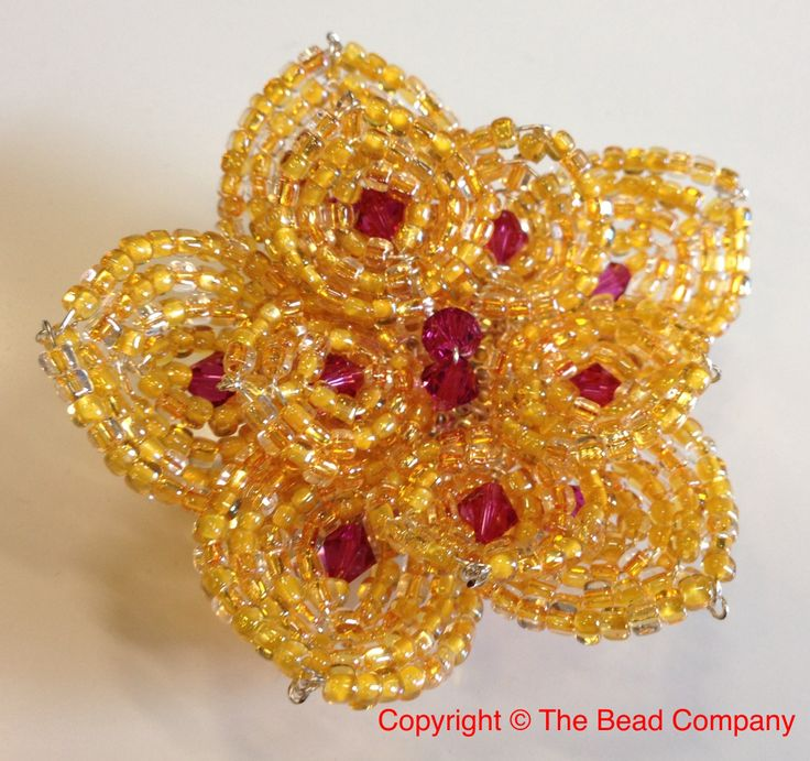 French Beaded Flower Brooch with Swarovski Crystal and Miyuki seed beads   http://www.thebead.co.uk/acatalog/Jewellery_Making_Classes_Glasgow.html