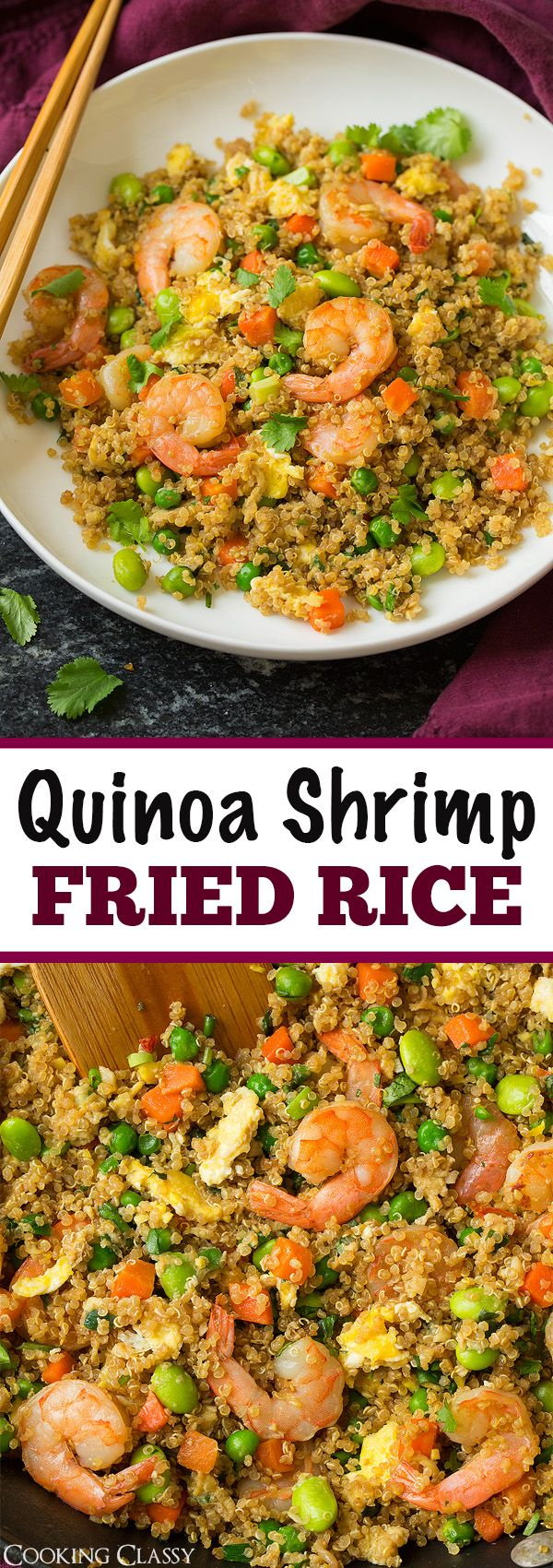 """Quinoa Shrimp """"Fried Rice"""" - a healthier take on classic fried rice yet equally as delicious!"""