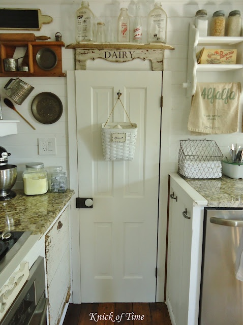 Kitchen - Note Utensils on Wall, Wire Basket for Dish Towels and Enamelware Bin w/Jars for Silverware