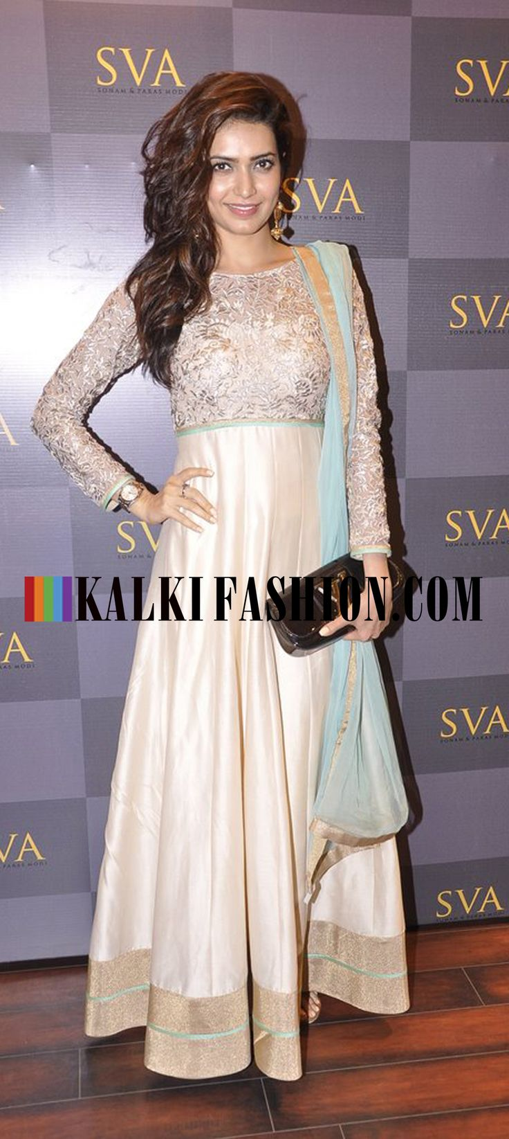 Karishma Tanna in an embroidered bodice anarkali suit by Sonam and Paras Modi at the launch of SVA Signature Studio. http://www.kalkifashion.com/