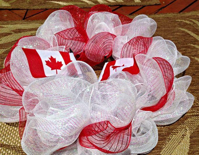 canada day deco mesh wreath