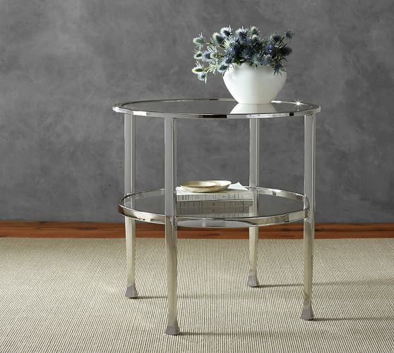 Tanner Round Side Table Polished Nickel Finish Pottery Barn Console Table And End Table