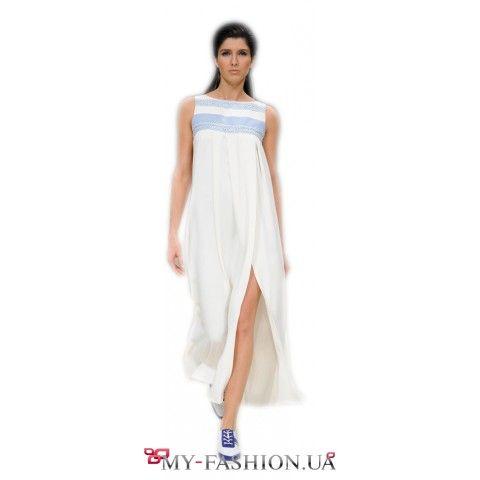 Летнее платье-сарафан из белого шелка