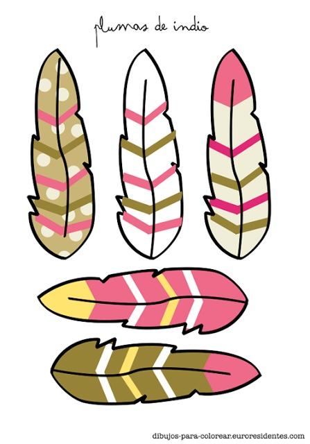 Plumas de indio para imprimir http://dibujos-para-colorear.euroresidentes.com/2013/06/plumas-de-indios-para-colorear.html