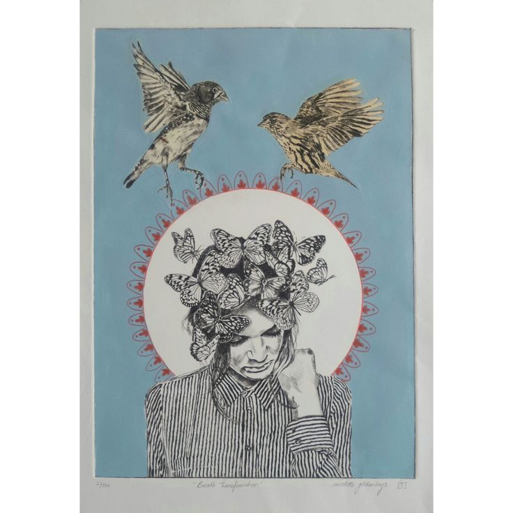 Drypoint intaglio print with collaged drypoint birds on handmade paper with hand colouring and lyra pencil - Nicolette Geldenhuys