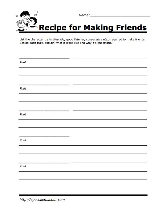 Recipe For Making Friends School Kids Lessons Social