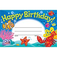 Happy Birthday! Sea Buddies<sup>™</sup> Recognition Awards from TREND. Teacher-created, award-winning learning products for Pre-K to Grade 9. TRENDenterprises.com.