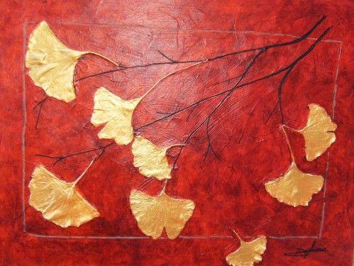 gingko poem gpethe | 199 - acrylique : arbre aux quarante écus ginkgo biloba - paintart