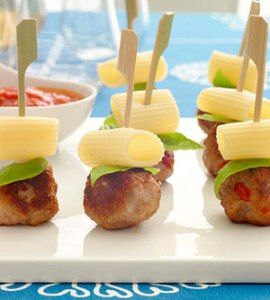 Pasta and meat ball appetizers with dipping sauce - different, I like!