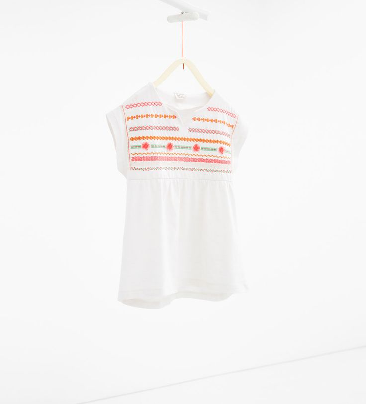 Loose-fit blouse with embroidered yoke-T-SHIRTS-GIRL | 4-14 years-KIDS | ZARA United States
