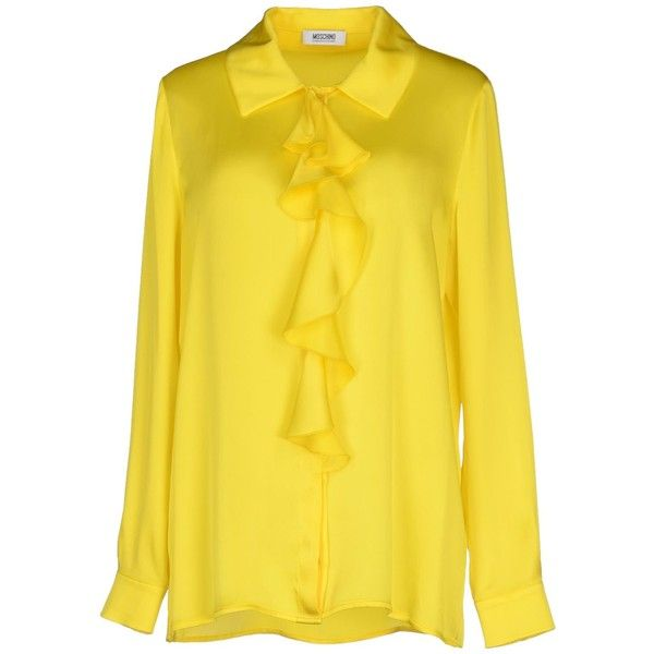 Moschino Cheapandchic Shirt (£133) ❤ liked on Polyvore featuring tops, yellow, moschino cheap & chic, yellow long sleeve shirt, longsleeve shirt, long sleeve tops and yellow long sleeve top