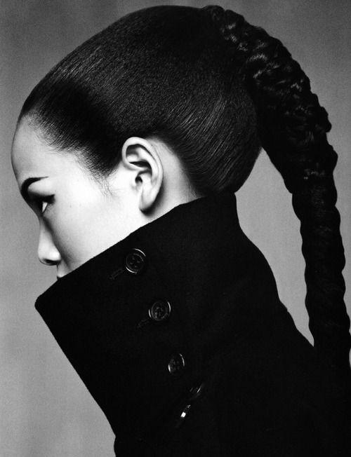 Mei Yuan Gui for Numéro China 1, September 2010: Fashion Clothing, Grace Gao, High Collars, Beautiful, Fine Hair, Braids, Black White, Hair Style, Fashion Photography