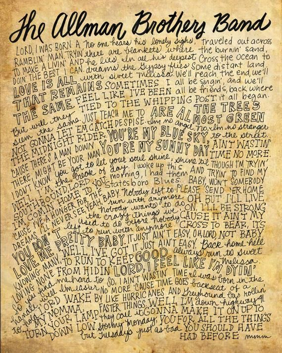 The Allman Brothers Band Lyrics And Quotes 8x10 Handdrawn And