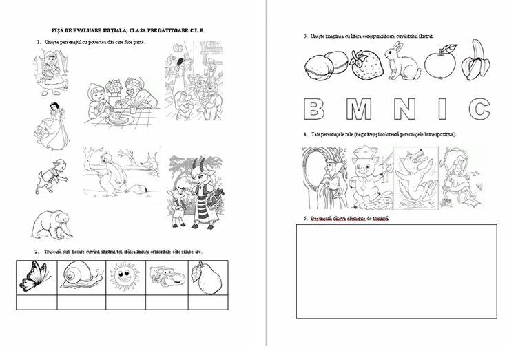 Materiale didactice de 10(zece): Fişă de evaluare iniţială, clasa pregătitoare-C.L.R.