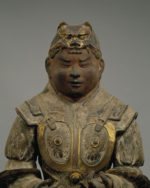 734 Inui Chakukabuto with Lion Crown, eyes almost closed. Buddhist protector. Japan 国宝 乾闥婆像 734年 撮影:金井杜道 (c)興福寺