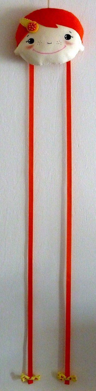 Porte-barrettes coloré Tête de poupée à suspendre Coton Orange / Bronze