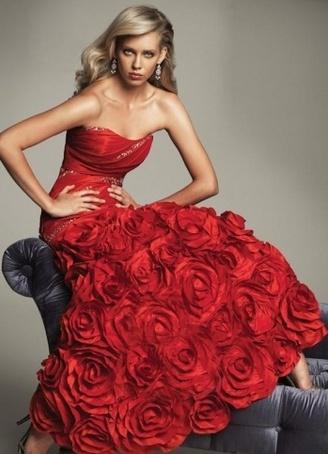 Red Roses Bridal Dress